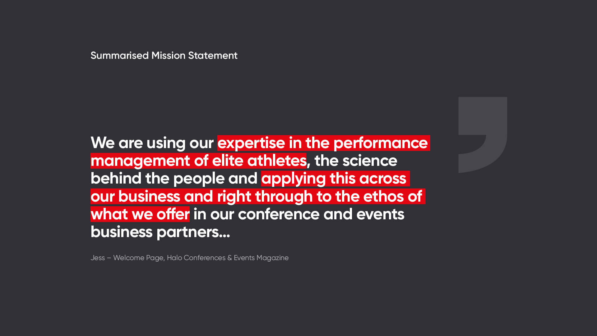 Halo Conferences & Events Mission Statement
